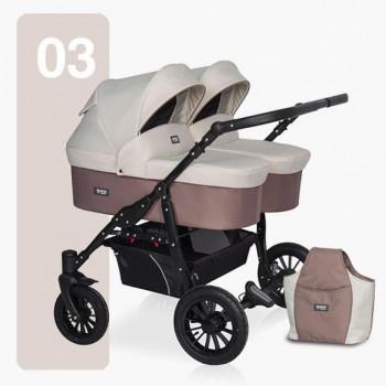 Детская коляска для двойни Riko Basic Saxo 2в1