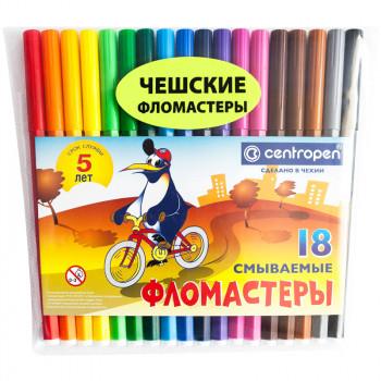 Фломастеры смываемые Centropen 18цветов